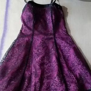 purple with black lace overlay party dress
